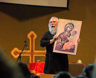 Archbishop Job lectures on iconography at a summer camp near Minneapolis, MN.