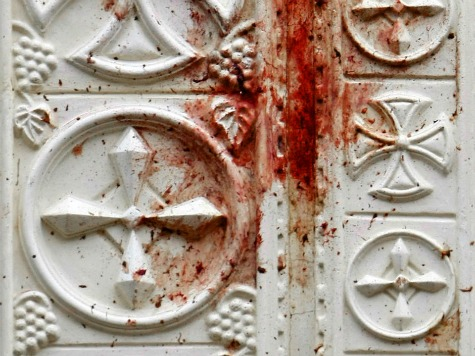 bloody church door