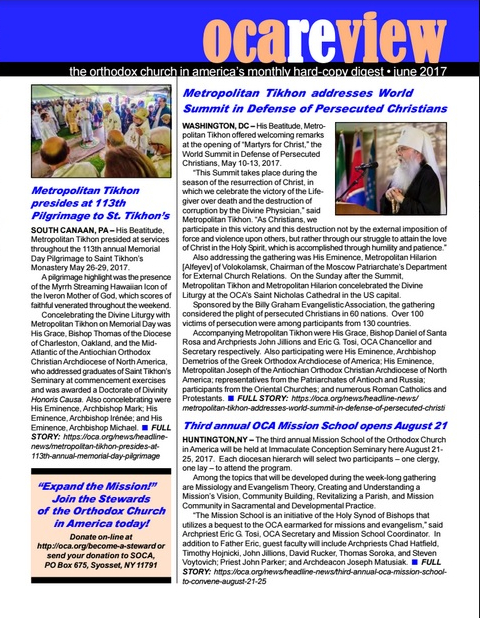 June OCAreview available for downloading, parish distribution