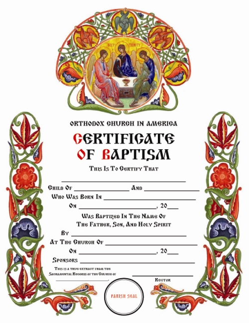 Certificates  Orthodox Church In America